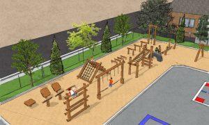 Parcours d'hébertisme du futur parc-école de l'école Saint-Charles