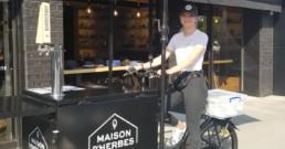 Le café-vélo de la Maison d'Herbes. Le premier « vélo de cuisine » à obtenir un permis de la Ville de Drummondville