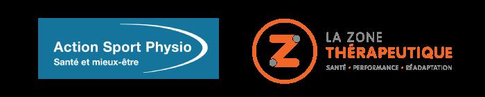 Logos des cliniques Action Sport Physio et La-Zone thérapeutique