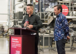 Vick Chicoine et François Chicoine de l'Imprimerie Chicoine FL Web - conférence de presse organisée par Fagnan relations publiques Drummondville