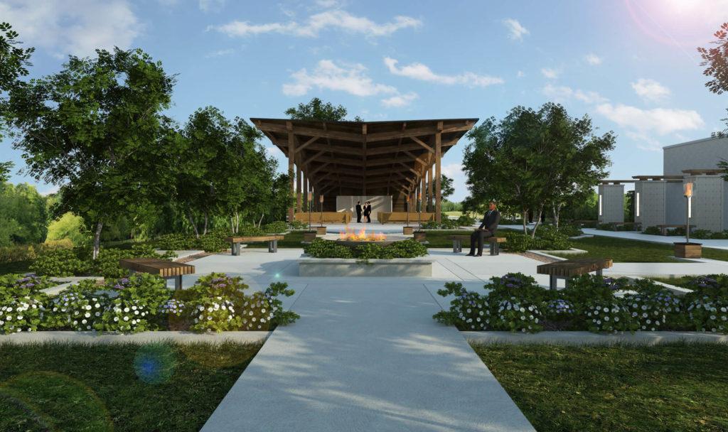Jardin commémoratif de la Coopérative J.N Donais et chapelle exterieure - Annonce Fagnan Relations publiques Drummondville