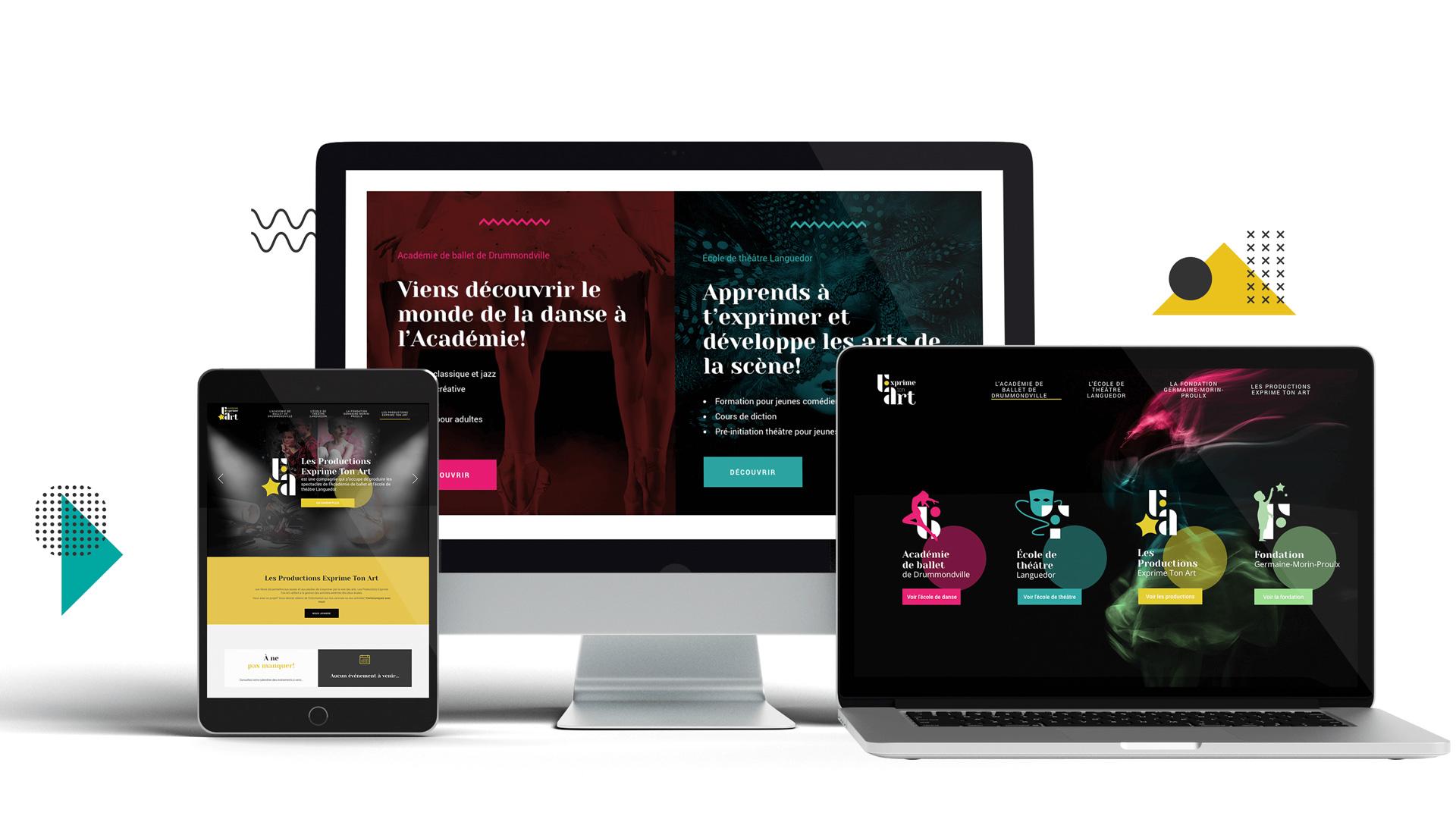 Site internet exprime ton art pour l'Académie de ballet de Drummondville et l'école de théâtre Languedor